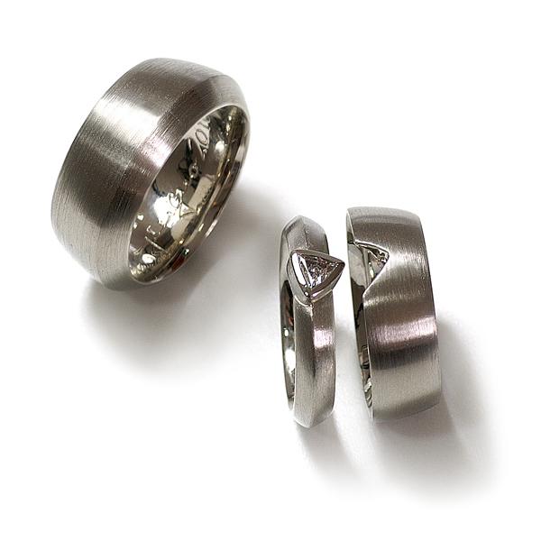 Verlobungsring mit Ehering Palladium Diamant (1005457)