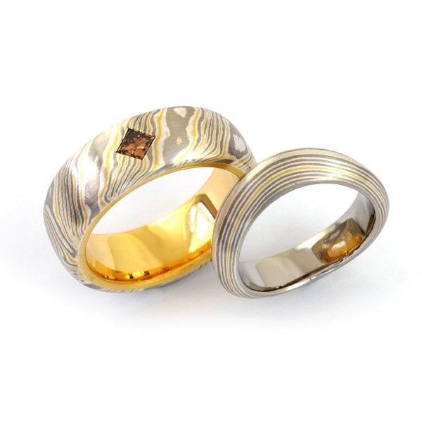 Eheringe Mokume Gane Silber Gelbgold Palladium Diamant (1007644.1)