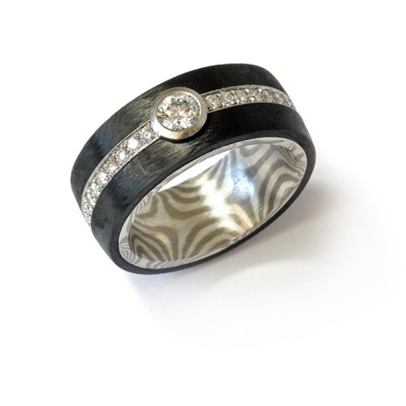 Verlobungsring Mokume Gane Silber Palladium Brillanten Carbon (1007863)