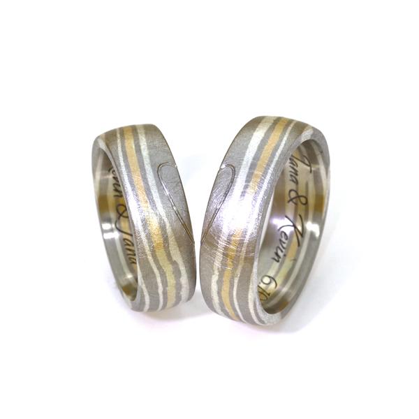 Eheringe Mokume Palladium Silber Gelbgold (1008299)