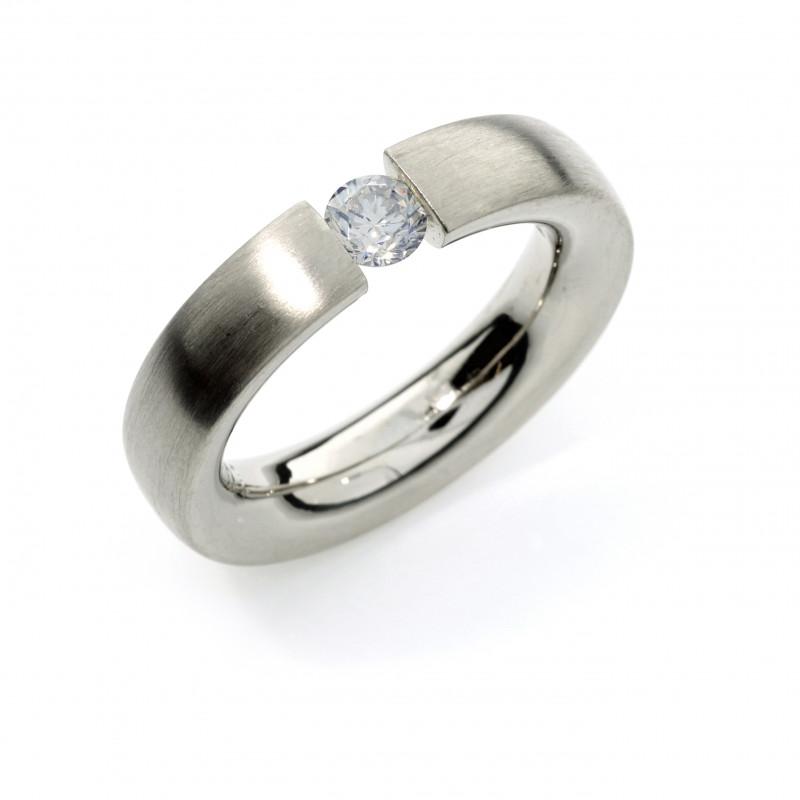 Verlobungsring Weissgold Brillant (250001)