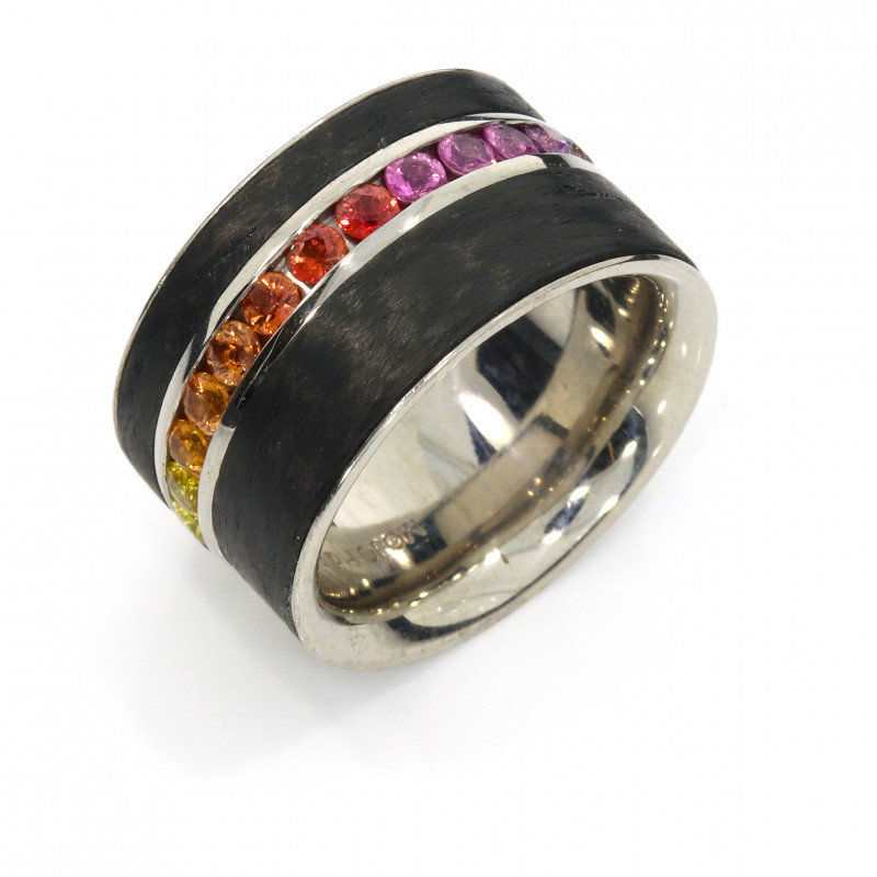 Ring Carbon Saphir Regenbogen Palladium (250016)