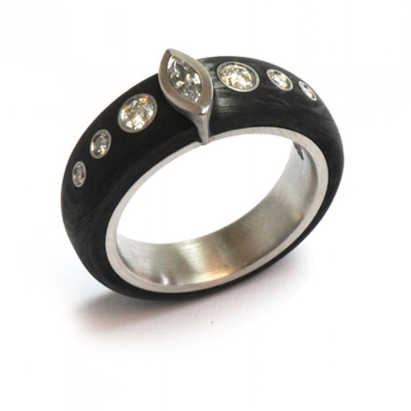 Ring Palladium Carbon Brillanten Diamant (1007406)
